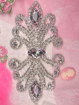"""TS9 Silver Crystal Clear Elegant Rhinestone Applique 7"""" ~ Bridal Embellishment"""