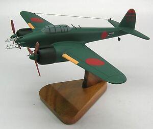 K Nakajima Woodblock Prints Nakajima J1N1-S Gekko Airplane Wood Model Replica Large Free Shipping ...