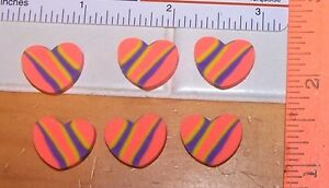 Lot-Of-6-Fun-Orange-Multi-Color-HEART-Shaped-Novelty-Erasers