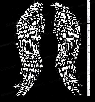 "Large silver Angel wings rhinestone iron on transfers - 14"" tall"