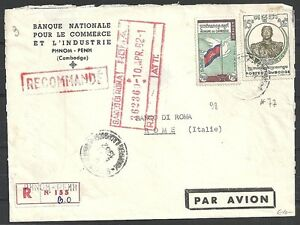 Cambodia covers 1962 mixed franked R-cover Phnom-Penh