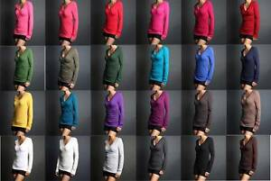 Women-Junior-Plain-Basic-LONG-SLEEVE-Stretch-T-Shirts-Solid-Cotton-V-neck-Top
