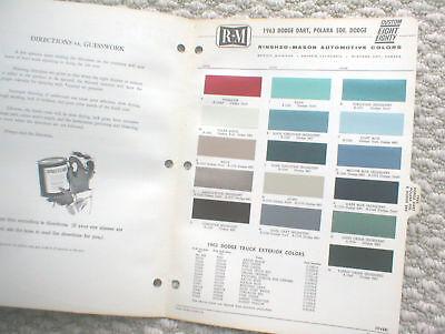 1963 DODGE Color Chip Paint Sample Chart Brochure By R-M