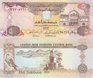 UNITED-ARAB-EMIRATES-UAE-5-Dirhams-UNC-Banknote-Pick-p26a-World-Currency-Money