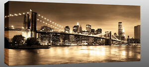 X-Large-New-York-Canvas-Brooklyn-Bridge-Sepia-44-034-x20-034-ready-2-hang-chunky-frame