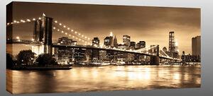 X-Large-New-York-Canvas-Brooklyn-Bridge-Sepia-44-x20-ready-2-hang-chunky-frame