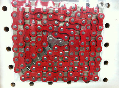 BICYCLE CHAIN 1/2 X 1/8  112 LINK RED/CHROME BMX BEACH CRUISER NEW