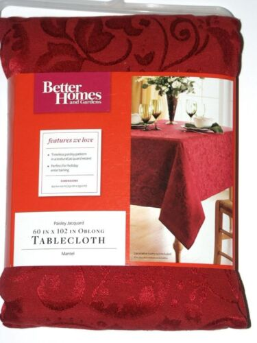 New BETTER HOMES Christmas Holiday Fabric TABLECLOTH Gold Red or Green Jacquard