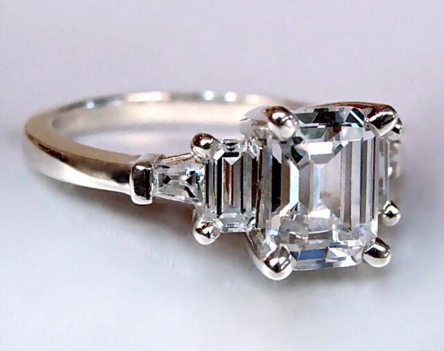 2.31CT EMERALD CUT ENGAGEMENT RING 14K SOLID GOLD NO RESERVE