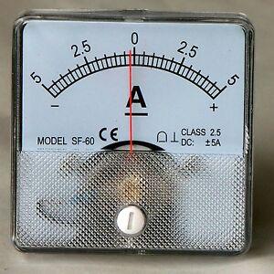 DC Analog Ammeter Panel Mount 5-0-5 PMA505-DC