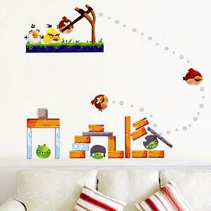 Removable wall sticker angry birds home decal sticker for Angry birds wall mural