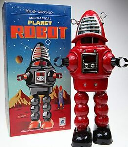 RED-ROBBIE-ROBOT-TIN-TOY-WINDUP-ROBBY-SPARKS-HELMET-PLANET-ROBOT