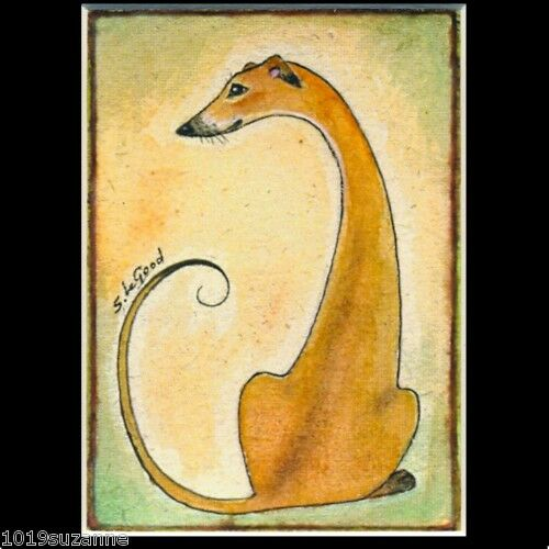 Greyhound dog ACEO art print mounted from original painting by Suzanne Le Good