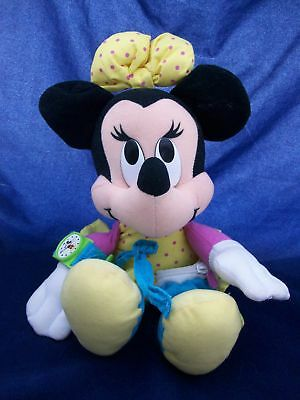 Disney Minnie Mouse Plush Stuffed Animal Wearing Belly Bag And Watch Adorable