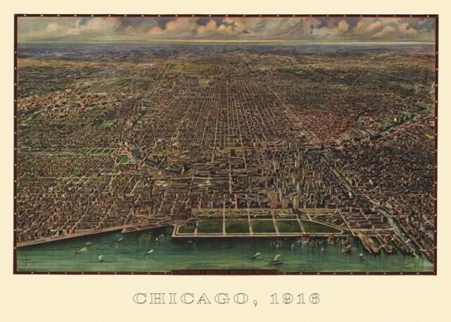 Chicago 1916 by Arno B. Reincke Art Print Vintage Illinois Map Poster 20x28