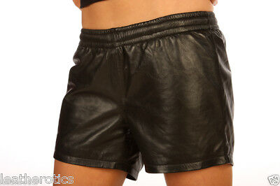 unisex REAL LEATHER sheer French Knickers cami shorts