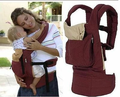 Front & Back Baby Carrier Backpack Sling wine red and blue