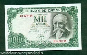 SPAIN-1000-PESETAS-P154-1971-W-O-PFX-COMMEMORATIVE-UNC-RARE-NOTE