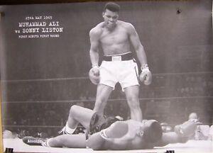 "GET UP AND FIGHT SUCKER! ALI VS LISTON 1965 BIG POSTER 38x55"""