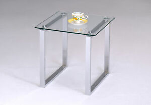 Chrome-Finish-With-Glass-Top-End-Table-New