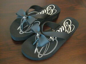 GUESS-Wedge-Flip-Flop-Sandals-Black-Bow-with-Silver-Heart-CHOICE-OF-SIZES