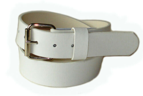 MENS WOMAN WHITE SNAP-ON BELT WITH JEAN BUCKLE XL 40