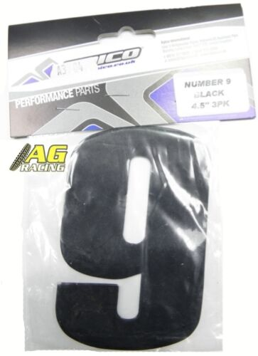 9 Black Stickers Decals 4.5 inch Motocross Enduro Apico Number 9 No