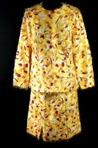 VERY-RARE-VINTAGE-1960-039-S-SILK-FUR-YELLOW-GOLD-TWO-PIECE-SUIT-SIZE-42-44