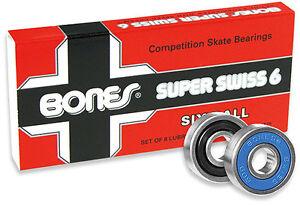 BONES-SUPER-SWISS-6-BEARINGS-PACK-of-8pcs-Skateboard-Longboard-POWELL