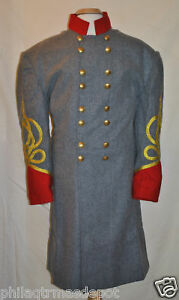 Confederate-Officer-Frock-w-Red-Collar-amp-Cuffs-Size-38-w-4-Gold-Braids