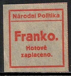 Czechoslovakia 1918 MI Not Zeitungszettel UNG VF