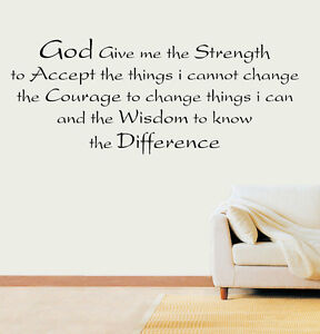 Image Is Loading Strength Wisdom Difference Prayer Quote Vinyl Wall Art