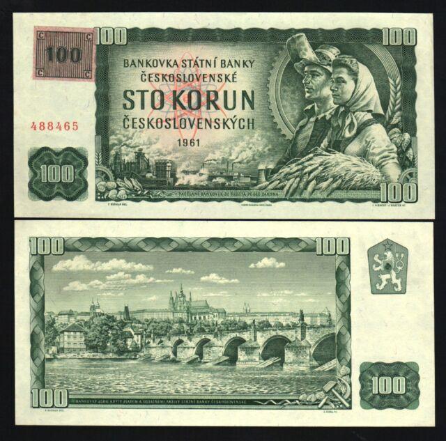 CZECH REPUBLIC 100 KORUN P1 1961 1993 1st BANKNOTE UNC LION CHARLES BRIDGE MONEY