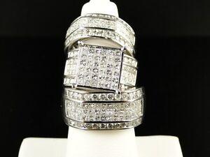 6 Ct Mens Ladies Princess Cut Diamond Ring Trio Engagement Wedding