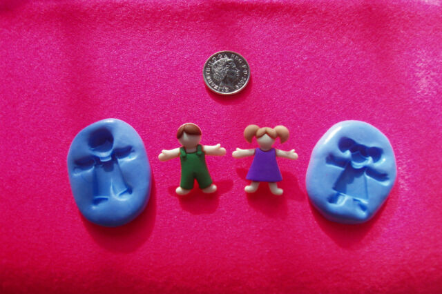 BOY AND GIRL MOULD/MOLD for Polymer Clays,Food,Soap,Precious Metal ClayS