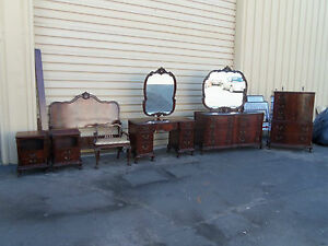 50012-Mahogany-8-pc-Chippendale-Bedroom-Set-Bed-Dresser-Nightsand-s-Vanity-Chest