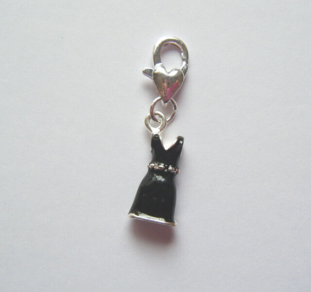 3D silver plated enamel cocktail dress clip on bracelet charm choice of colours