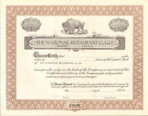 National-Restaurant-Winnipeg-Canada-stock-certificate