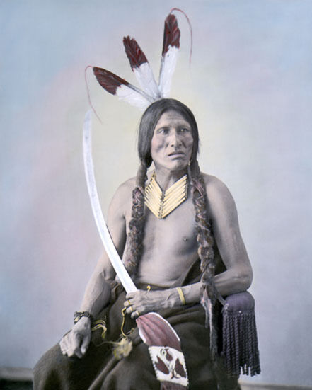 "LOST MEDICINE HUNKPAPA NATIVE AMERICAN 1872 8x10"" HAND COLOR TINTED PHOTOGRAPH"