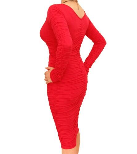 Neu Enganliegendes Kleid Gerüscht Knielang V Ausschnitt S7rSdxqB