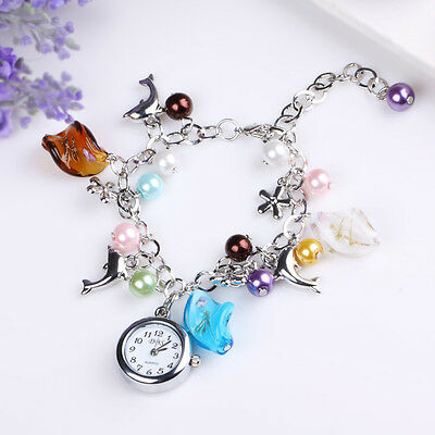 NEW CHARM COLORFUL BRACELET DOPHIN PENDANTS GIRL LADY DRESS QUARTZ WRIST WATCH