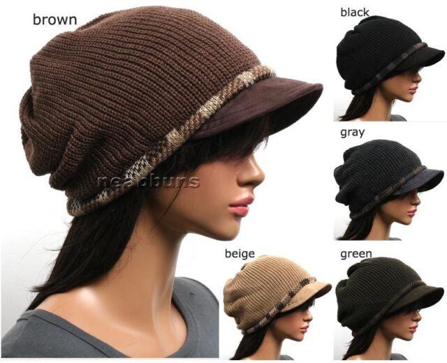 Unisex BRIM BEANIE VISOR men women chic crochet Knit Hat ski Skull Cap new Vb3