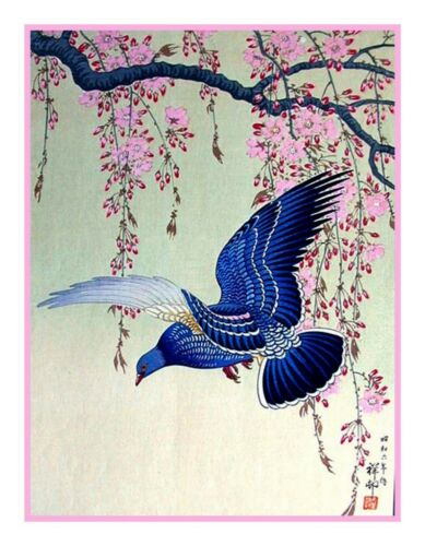 Ohara Shoson Koson Blue Bird Cherry Blossom Branch Counted Cross Stitch Chart