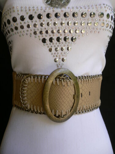 NEW WOMEN BEIGE SNAKE SKIN STAMP ELASTIC BELT ANTIQUE GOLD CHAINS BUCKLE XS-XL