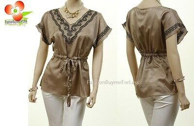Mocha Brown Renaissance Cotton Embroidered Drawstring Peasant Blouse Shirt Top