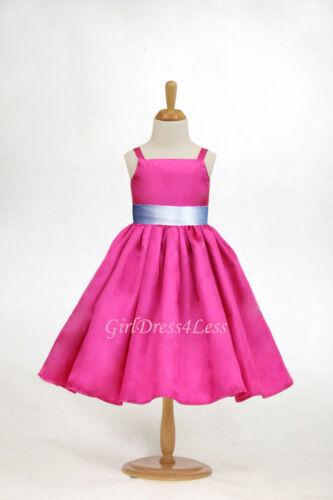 Fuchsia Hot Pink Easter Wedding Party Flower Girl Dress 12M 18M 2 4 6 8 10 12