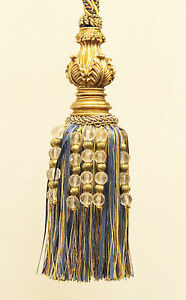 A Pair of Large wooden carve Tie Back Tassel Navy-Royal ...