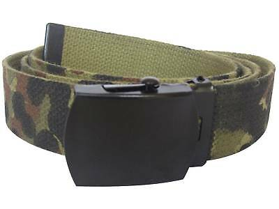 FLECKTARN CAMO US Army Style Webbing Camouflage Trouser Belt - 130cm with Buckle
