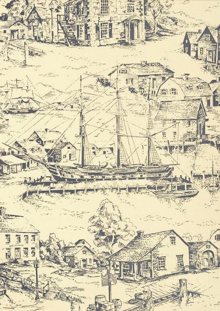 Scenic Nautical Historical Toile  Wallpaper