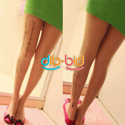 Women English Letters Tattoo Pantyhose Stockings SSUS